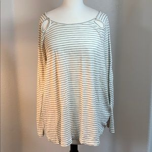 NWT anthropologie cream striped long sleeve top LG